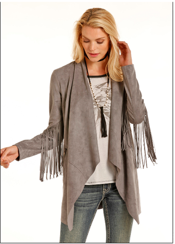 Grey Fringe Coat