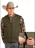 Men's Vest Army Green with Tan Leather Trim Concealed Carry