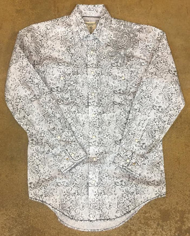 Black and White Long Sleeve Button Up by Panhandle Slim
