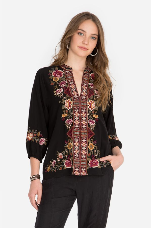 Johnny Was Nepal Black Swing Blouse