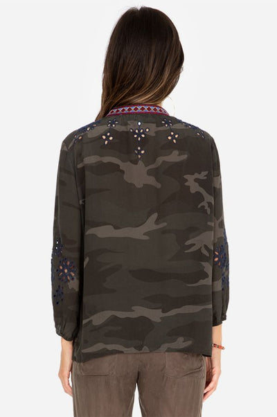 Johnny Was Camo Mona Effortless Women's Blouse