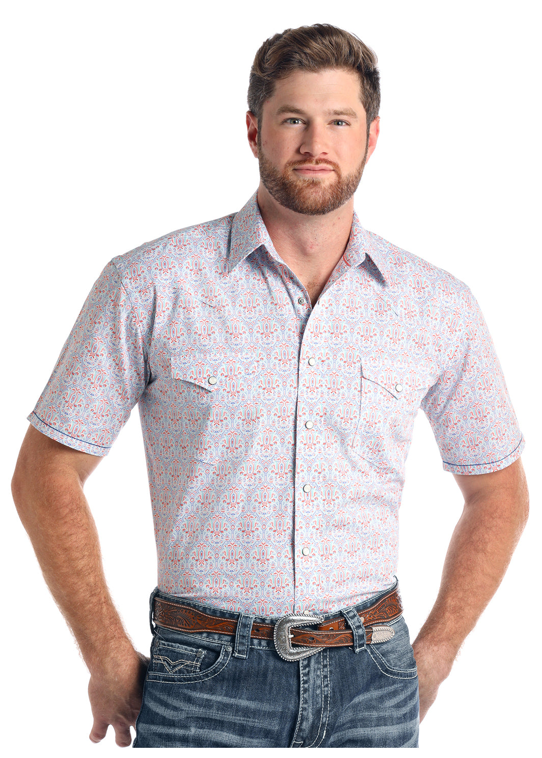 Panhandle Rough Stock Short Sleeve Men's Pearl Snap Shirt