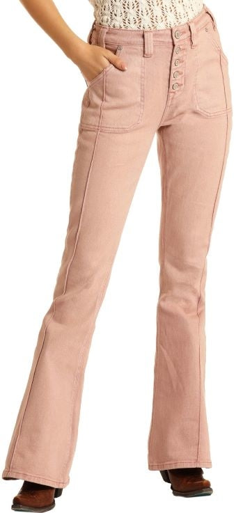Panhandle Pink High Rise Flare Jeans