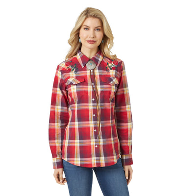 Wrangler Women's Long Sleeve Fashion Plaid Rose Embroidery Pearl Snap Shirt