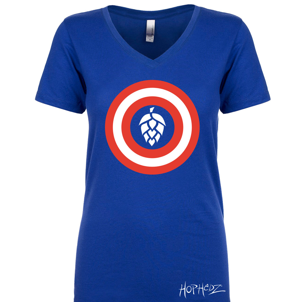 SIZE SMALL - Captain Hops - Ladies V-Neck - Royal