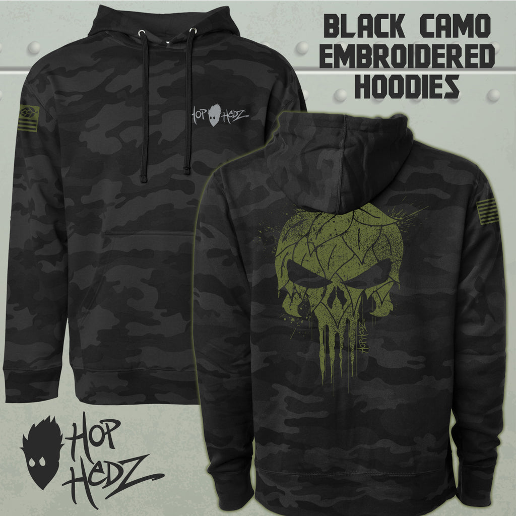 USA Hops Skull BLACK CAMO Hoodies