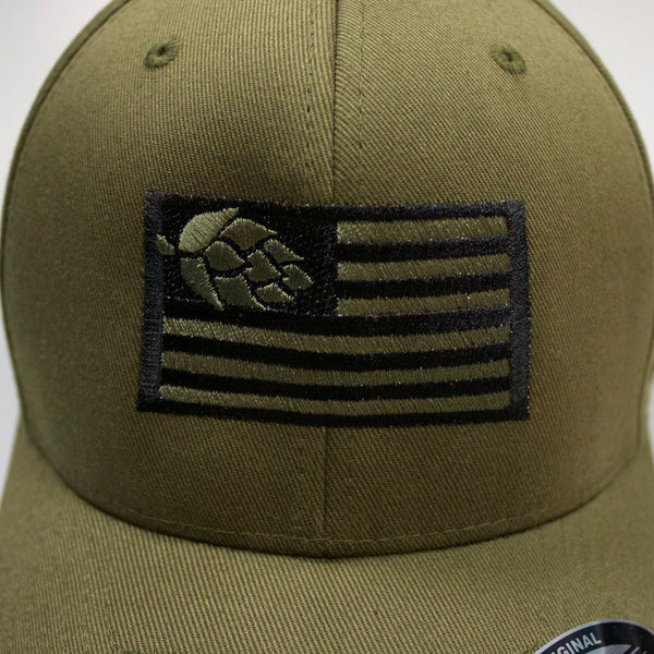 Hops Nation Flexfit Army Green Cap