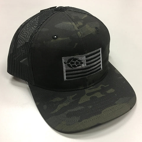 Hops Nation Black Camo Snap Backs