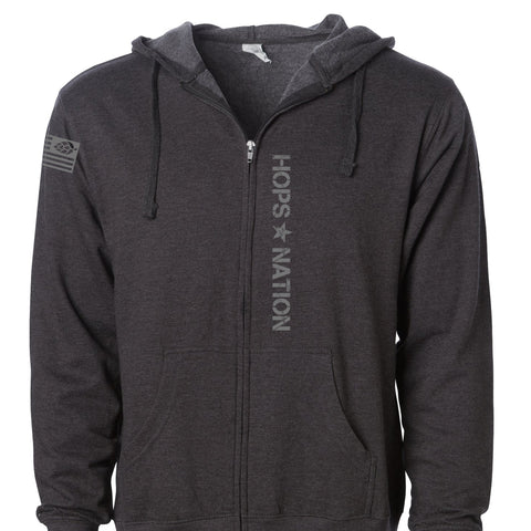 Hops Nation Charcoal Zip Hood