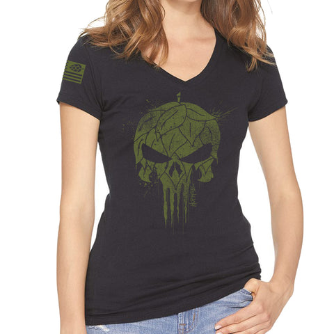 USA Hops Skull Ladies V-Neck