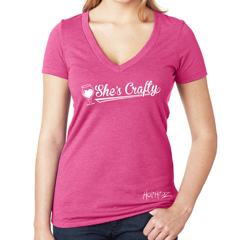 She's Crafty Pink V-Neck