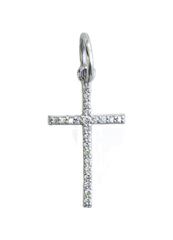 14K WHITE GOLD DIAMOND CROSS