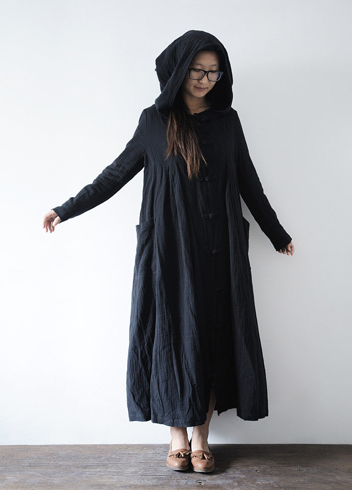 Ctton Long Dressbeige Color Hooded Cloakblack Color Hooded Coat