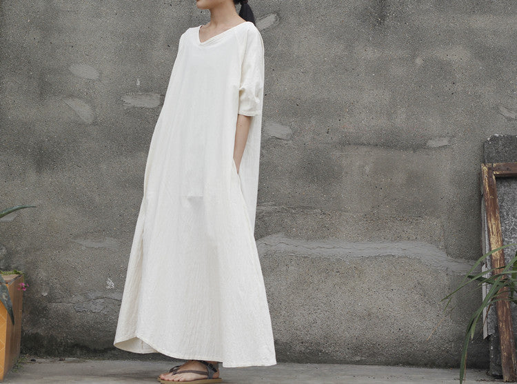 Linen Wedding Dress.2 Colors Linen And Cotton Loose Fitting Maxi Dress White Dress Wedding Dress Long Sleeve Robe Retro Gown In Coffee