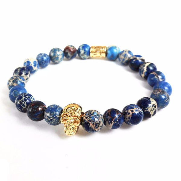 Blue Sea Sediment Skull Bracelet - Gold - BOX knocks  - 1