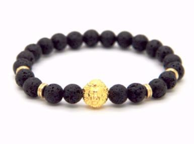 Lion Shield Lava Stones Bracelet - Black/Gold - BOXknocks Dubai Bracelets BOXknocks