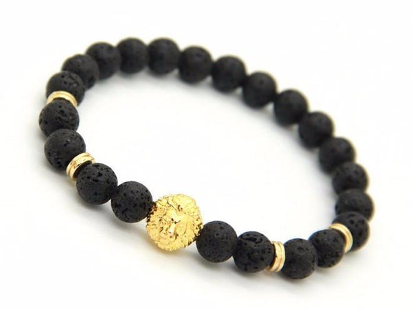 Lion Shield Lava Stones Bracelet - Black/Gold - BOXknocks Dubai Bracelets