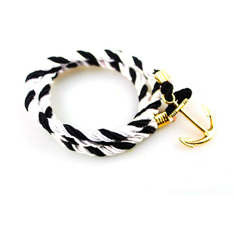 Handmade Black/White Rope Bracelet - BOX knocks  - 1