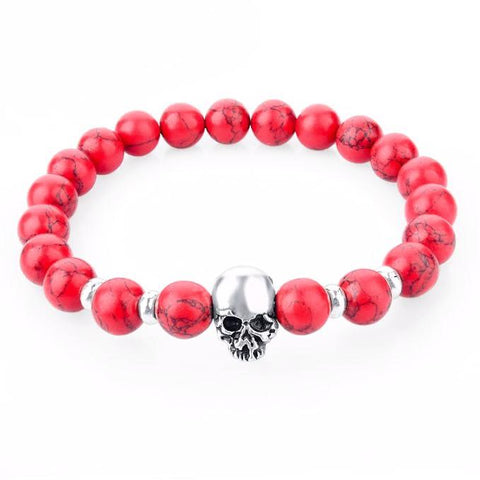 Brecciated Red Jasper Skull Bracelet - BOX knocks  - 1