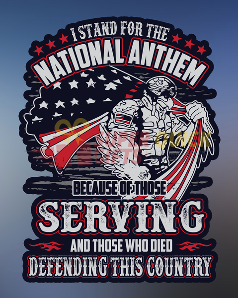 I Stand For The National Anthem Decal with FREE SHIPPING!