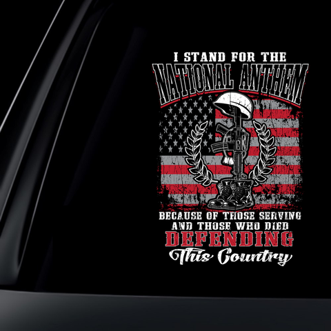 I Stand For The National Anthem V2 Decal with FREE SHIPPING!