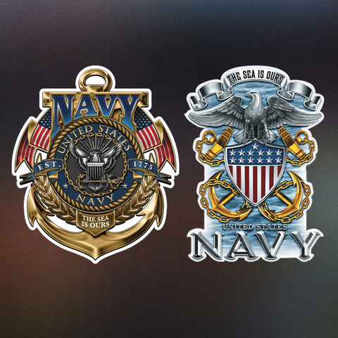 Navy The Sea Is Ours Decals - Special Pack! - FREE SHIPPING!