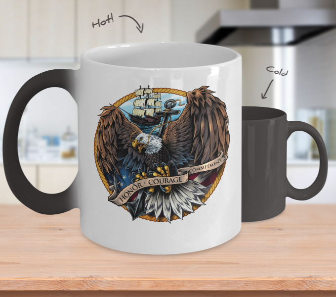 Navy Eagle Color Changing Mug