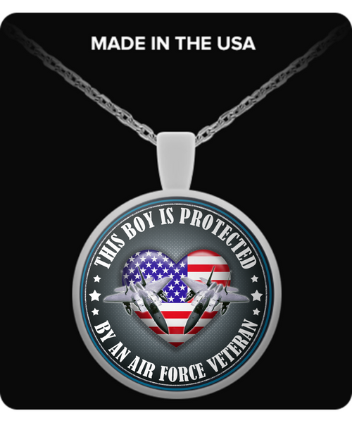 This Boy is Protected by an Air Force Veteran Pendant Necklace