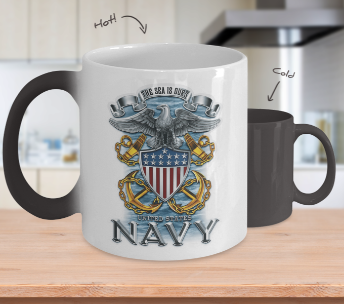 Proud Navy Color Changing Mug