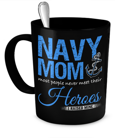 Proud Navy Mom Mug (Black)