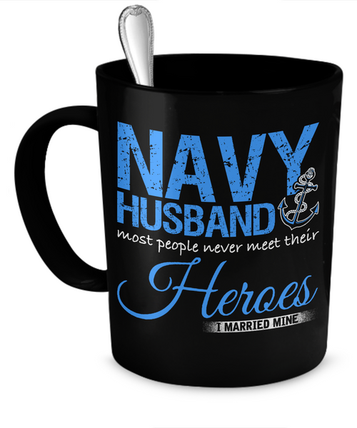 Proud Navy Husband Mug (Black)