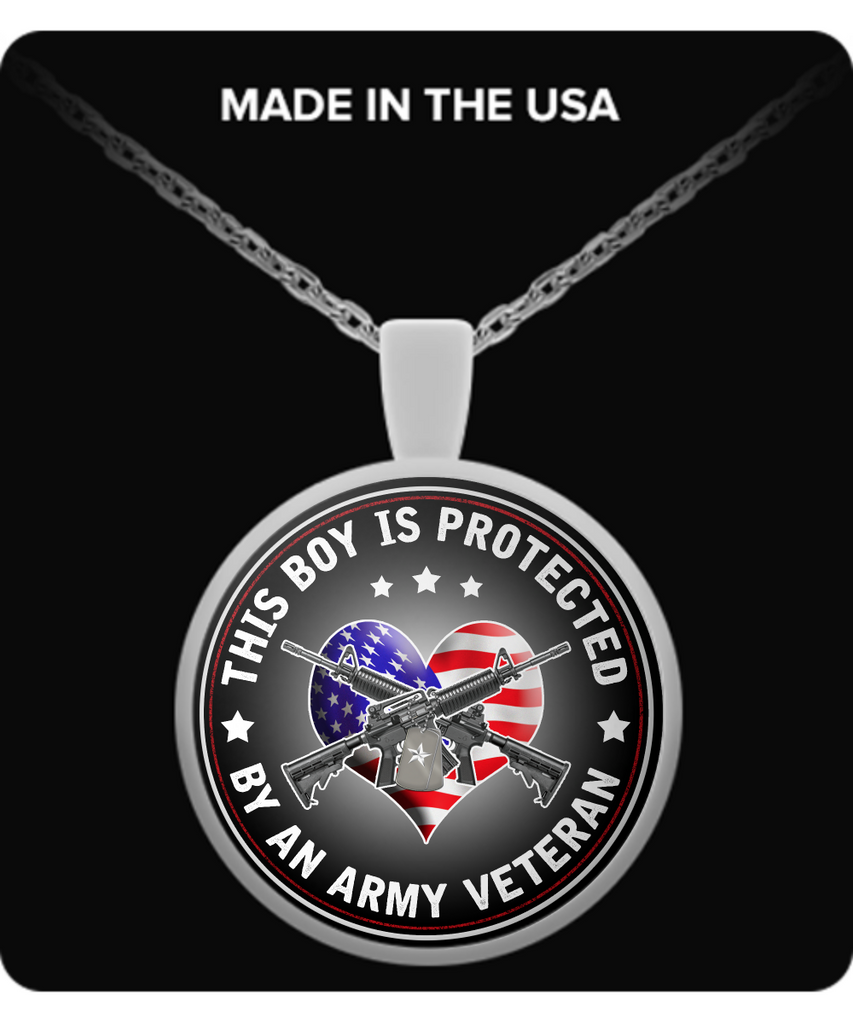 This Boy Is Protected By An Army Veteran Pendant Necklace