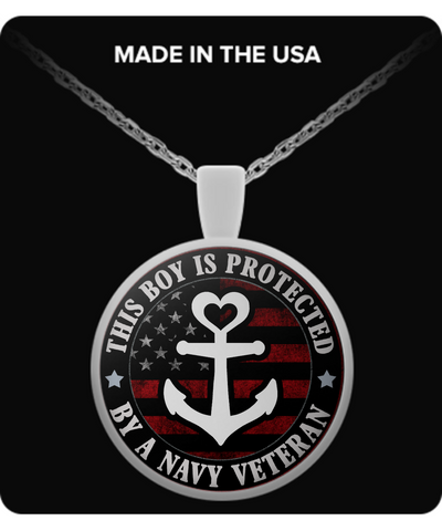 This Boy Is Protected By A Navy Veteran Pendant Necklace