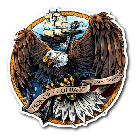"Navy Eagle 4"" Decal with FREE SHIPPING!"