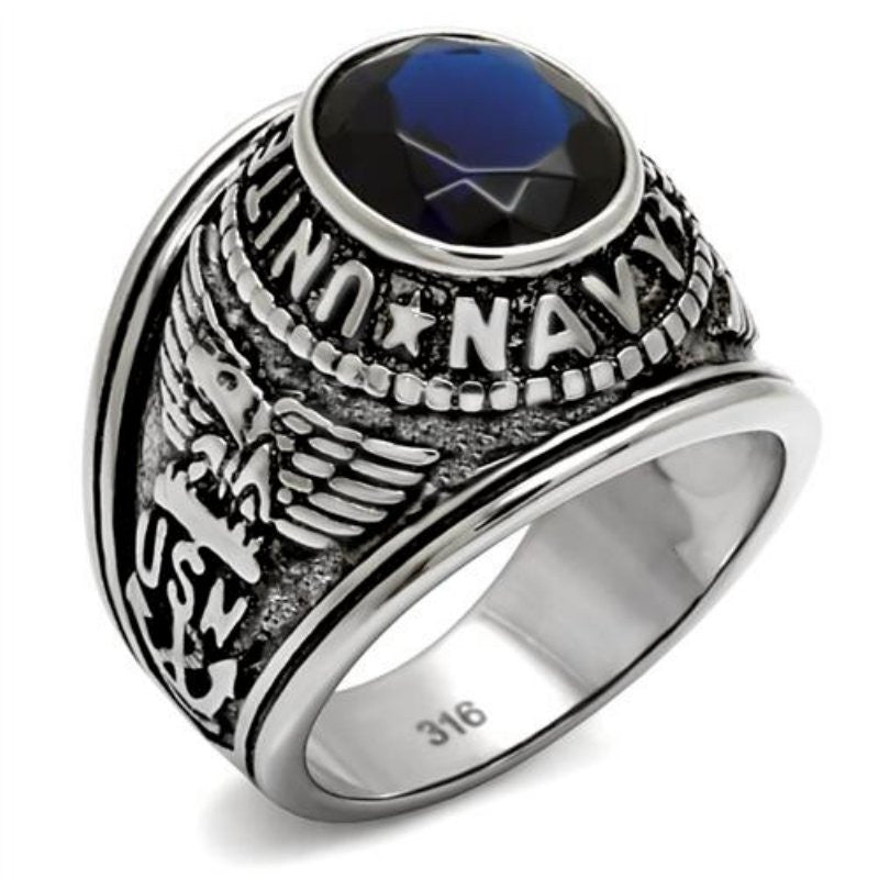Men's Stainless Steel United States Navy Blue Oval Glass Stone Ring