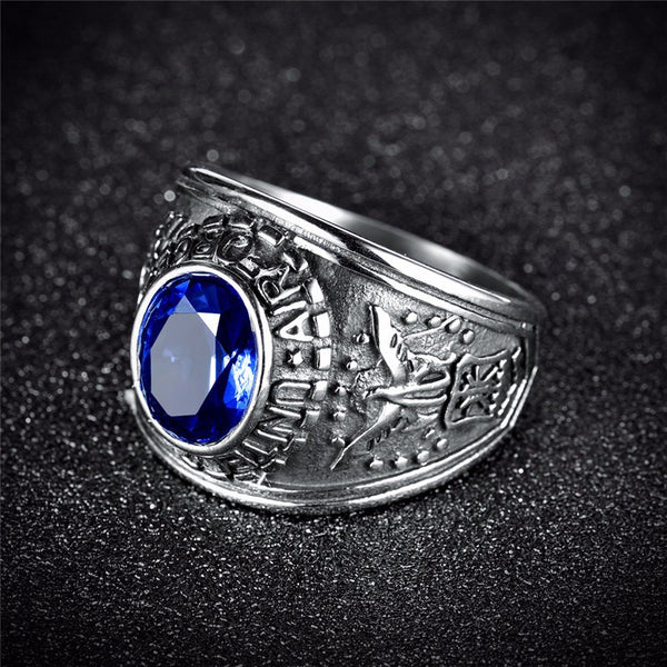 Men's Stainless Steel United States Air Force Blue Oval Stone Ring