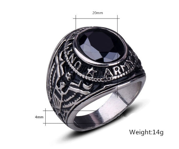 Men's Stainless Steel Eagle US Army Ring with Oval CZ Stone