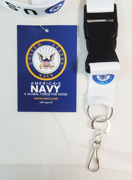 U.S. Navy Lanyard Necklace Key Chain with ID Holder (White)