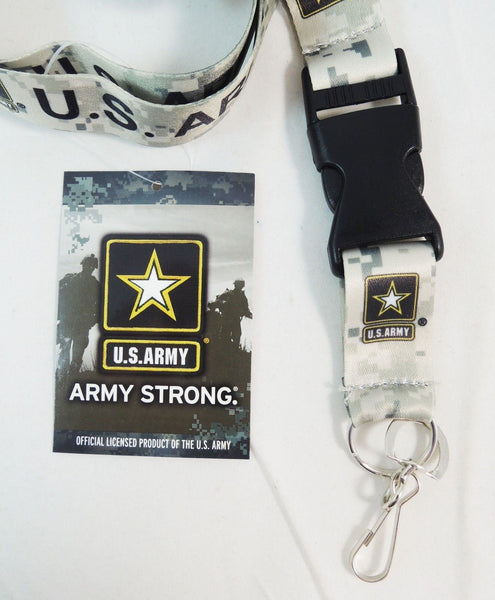 U.S. Army Lanyard Necklace Key Chain with ID Holder (Camo)