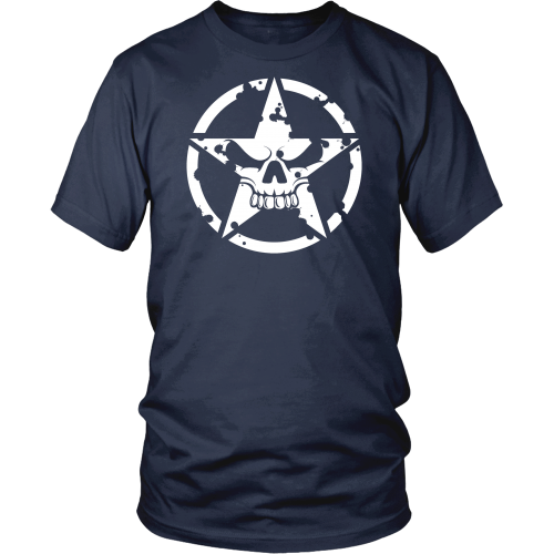 Army Star Circle Skull Hood T-shirt