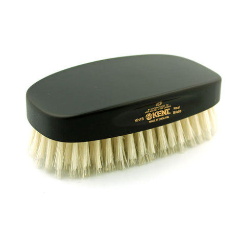 Kent Pure White Bristle Military Hairbrush, Ebony Handle - Alpha Yard  - 1