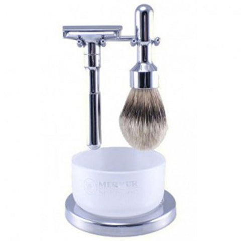 Merkur Futur 4 Piece, Polished Chrome Shaving Set - Alpha Yard