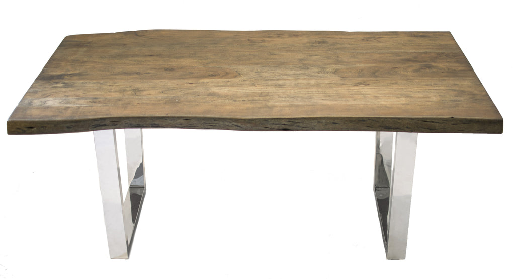 Live Edge Acacia Wood Dining Table w/ Square Legs