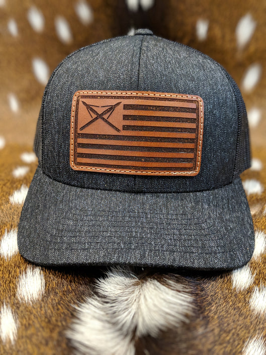 American Flag / Muzzy Tip Leather Patch Hat - Shirt Guys Bowfishing and Hunting T-Shirts
