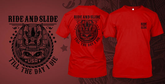 Ride and Slide printed on Red Gildan T-Shirt - Shirt Guys Bowfishing and Hunting T-Shirts