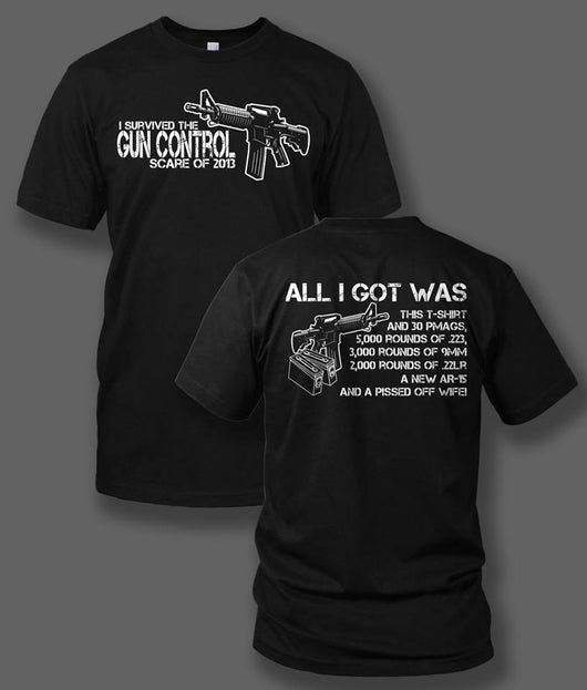 I Survived the Gun Control Scare of 2013 on a Black T-Shirt - Discontinue - Shirt Guys Bowfishing and Hunting T-Shirts