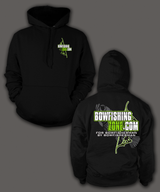 """Bowfishing Zone"" printed on Black Hoodies & Tees - Shirt Guys Bowfishing and Hunting T-Shirts"