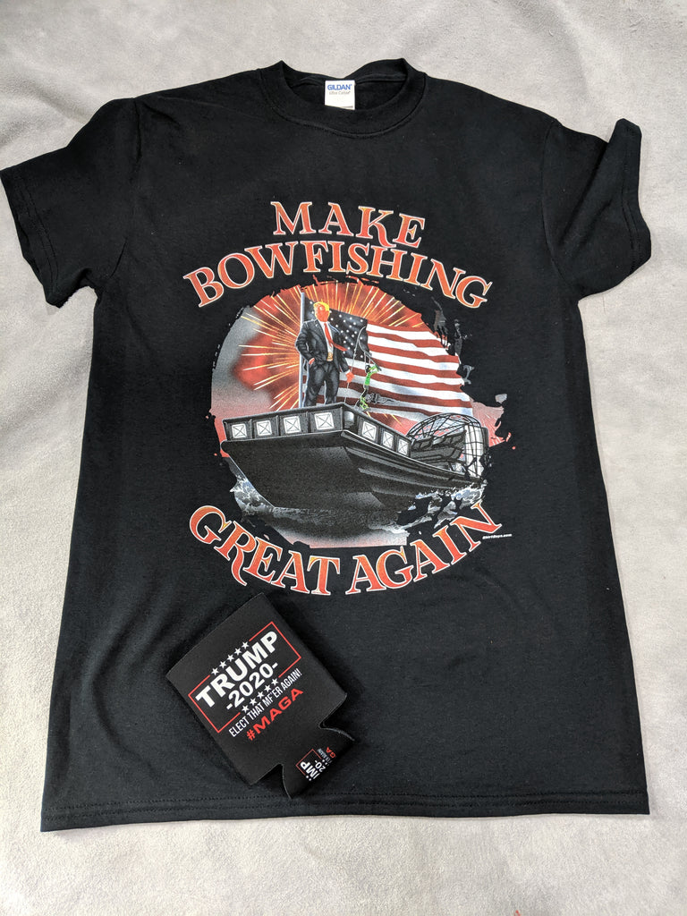 Make Bowfishing Great Again!!! design on black t-shirt - Shirt Guys Bowfishing and Hunting T-Shirts