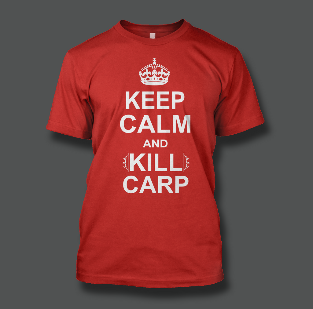 Keep Calm & Kill Carp Printed on a Red T-Shirt - Shirt Guys Bowfishing and Hunting T-Shirts