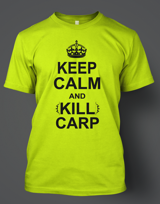 Keep Calm and Kill Carp Design on Safety Green Gildan T-Shirt - Shirt Guys Bowfishing and Hunting T-Shirts
